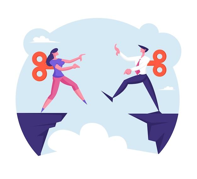 Biznesmen i bizneswoman z mechanizmem zegarowym na back step into abyss