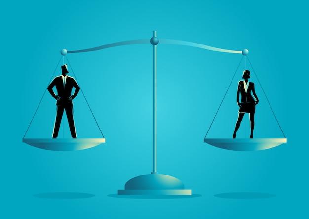 Biznesmen i businesswoman stojących na skali