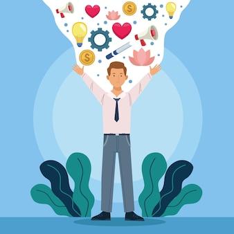 Biznesmen i dobre samopoczucie w biurze
