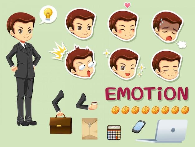 Biznesmen i głowa emocji
