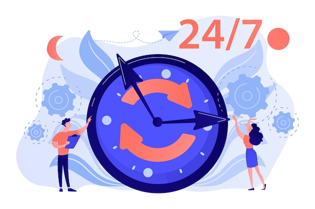 Biznesmen i kobieta w pobliżu ogromnego zegara z okrągłymi strzałkami, działającego 24 godziny na dobę, 7 dni w tygodniu, 7 godzin, harmonogram biznesowy, ilustracja koncepcja wydłużonych godzin pracy