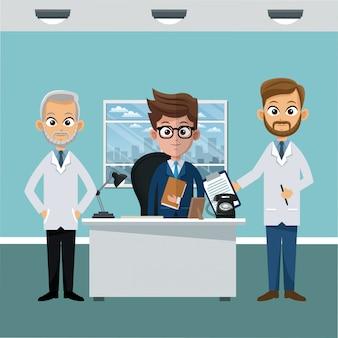 Biznesmen i lekarz w biurze kreskówki