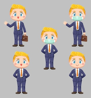 Biznesmen i maska ochronna trzyma teczkę w uczuciu różnicy na twarzy w płaskiej ilustracji postać z kreskówki na białym tle