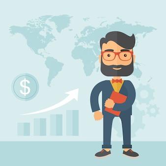 Biznesmen i plansza z mapą, dolar. rosnąca koncepcja