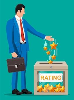 Biznesmen i pole oceny. recenzje pięć gwiazdek. referencje, ocena, informacje zwrotne, ankieta, jakość i przegląd. ilustracja wektorowa w stylu płaski