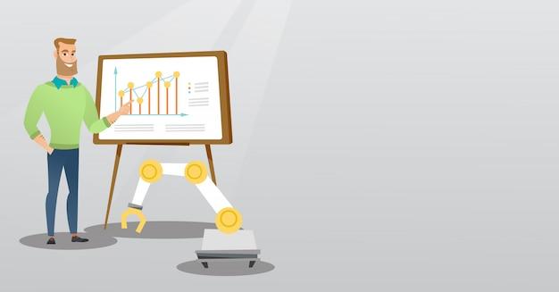 Biznesmen i robot dając prezentacji biznesowych