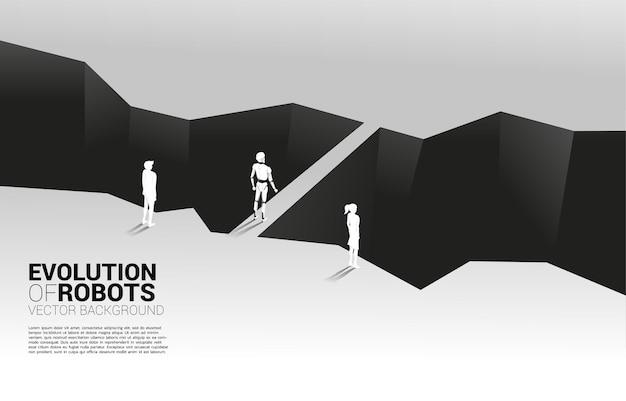 Biznesmen i robot przed doliną i robot z mostem. koncepcja biznesowa uczenia maszynowego i sztucznej inteligencji ai. człowiek kontra robot.