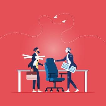 Biznesmen i robot rywalizują o krzesło robocze, robot sztucznej inteligencji zastępuje w pracy