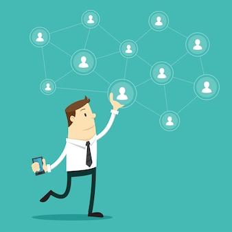 Biznesmen i sieć społeczna.