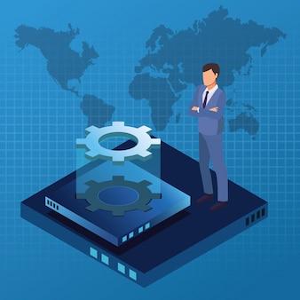 Biznesmen i technologia izometryczny