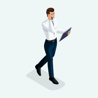 Biznesmen idzie do przodu, widok z przodu, negocjacje biznesowe przez telefon i tablet. emocjonalne gesty ludzi
