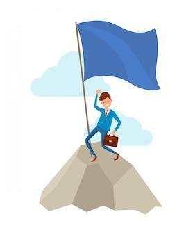 Biznesmen idzie do sukcesu, wspinaczka na skale