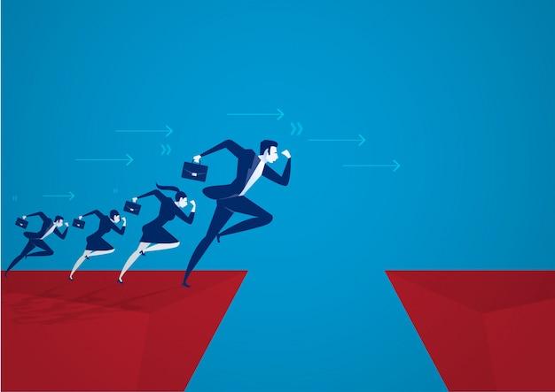 Biznesmen illustrator przeskakując przez przepaść. koncepcja sukcesu w biznesie, ryzyko.