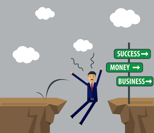 Biznesmen ilustracja. biznesmen podjąć decyzję o sukcesie