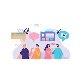 Biznesmen ilustracja dyskusji społecznej