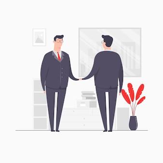 Biznesmen ilustracja koncepcja postaci umowy biznesowej ręka wstrząsanie umowę partnerstwa