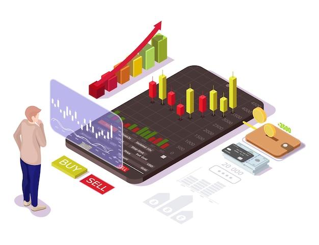 Biznesmen inwestowanie na giełdzie, izometryczny ilustracja wektorowa płaskie. koncepcja handlu akcjami mobilnymi.