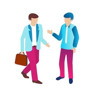 Biznesmen izometryczny ludzie modne mieszkanie koncepcja stylu fioletowy, 3d nowoczesny design. ilustracja wektorowa nowoczesnego tła biznesowego