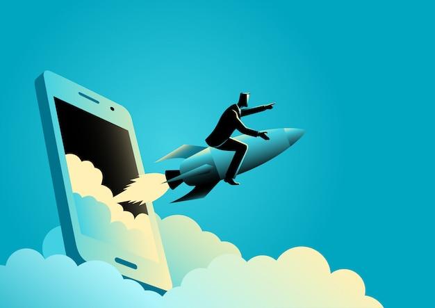 Biznesmen jadący na rakiecie wychodzi ze smartfona