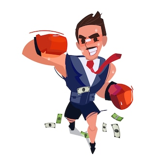 Biznesmen jako bokser gracz walczy o sukces.