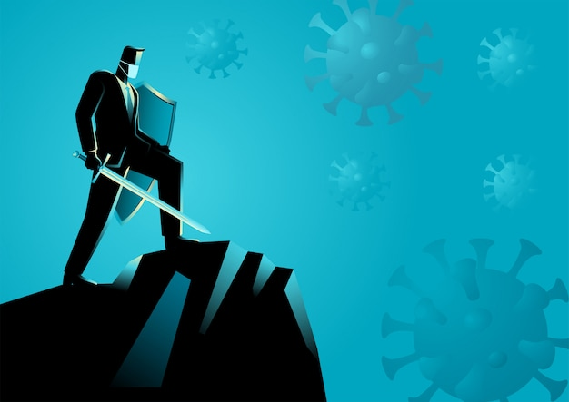 Biznesmen jako rycerz gotowy do walki z wirusami