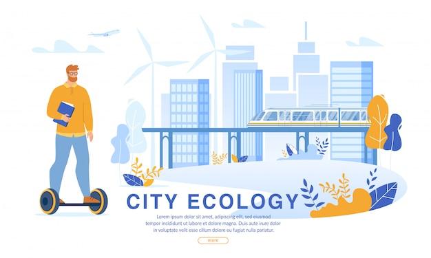 Biznesmen jazda hoverboard do pracy w eco city