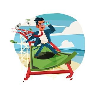 Biznesmen jazda na banknot jako kolejka górska. koncepcyjne biznes lub finanse