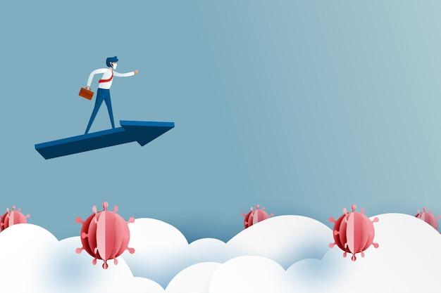 Biznesmen jazda niebieską strzałką pokonać przeszkodę dla kryzysu biznesowego i finansowego z koronawirusa covid-19.successful and business concept.paper art vector illustration.