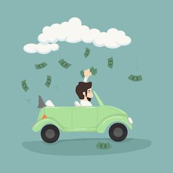 Biznesmen jazdy samochodem, łapanie pieniędzy