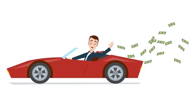 Biznesmen jedzie czerwonego sportowego samochód i wyrzuca pieniądze daleko od