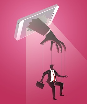 Biznesmen jest kontrolowany przez mistrza marionetek z telefonu komórkowego