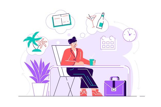Biznesmen jest relaksujący i marzy o wakacjach na tropikalnej wyspie w swoim miejscu pracy. nowoczesne wnętrze biura. pomysł na biznes. ilustracja nowoczesny projekt płaski na stronie internetowej, karty