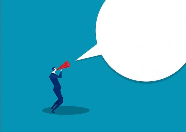 Biznesmen komunikuje się przez megafon. krzycząc przez głośniki.