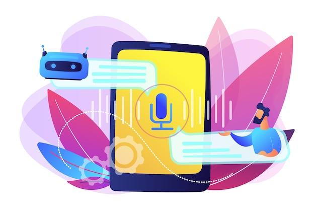Biznesmen komunikuje się z chatbotem za pomocą poleceń głosowych. chatbot sterowany głosem, mówiący wirtualny asystent, koncepcja aplikacji głosowej na smartfona. jasny żywy fiolet na białym tle ilustracja