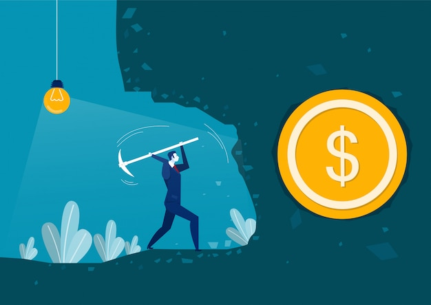 Biznesmen kopanie, aby znaleźć pieniądze na noc koncepcja biznesowa przygoda wektor