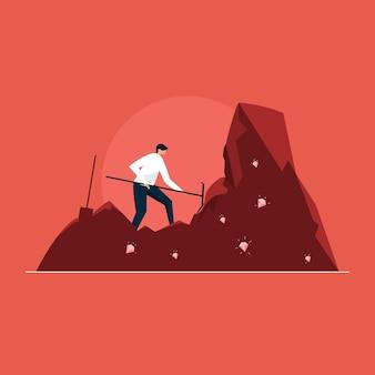 Biznesmen, kopanie dla koncepcji diamentu