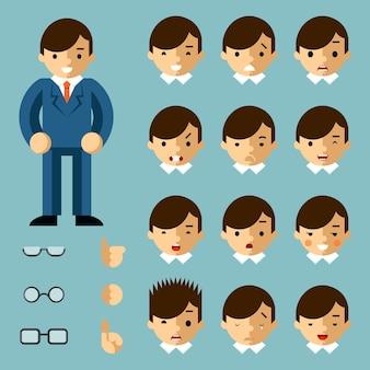 Biznesmen kreskówka emocje. szczęśliwa osoba, biuro ludzie, sukces menedżera, ilustracji wektorowych