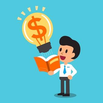 Biznesmen kreskówka otworzyć książkę, która ma duży pomysł na pieniądze