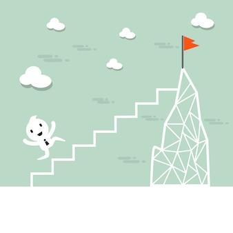 Biznesmen kreskówka wspinać się po drabinie na górę