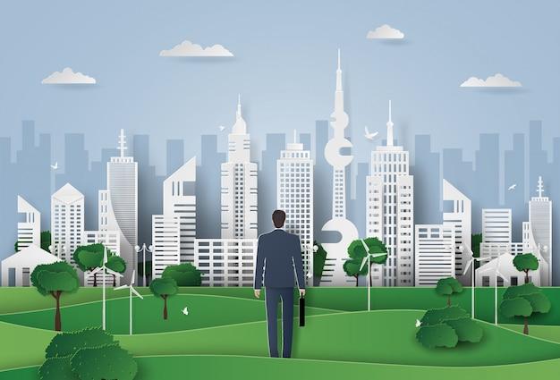 Biznesmen krok naprzód do inteligentnego miasta, wieżowiec