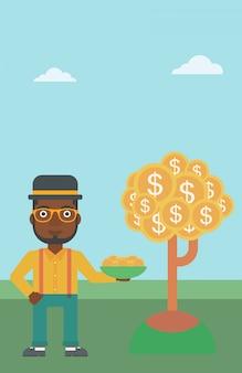 Biznesmen łapie dolarowe monety.