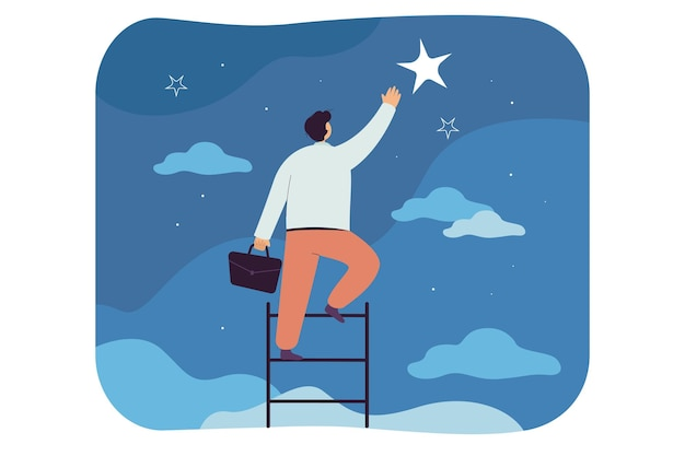 Biznesmen łapie gwiazdę, wspina się po drabinie do nieba