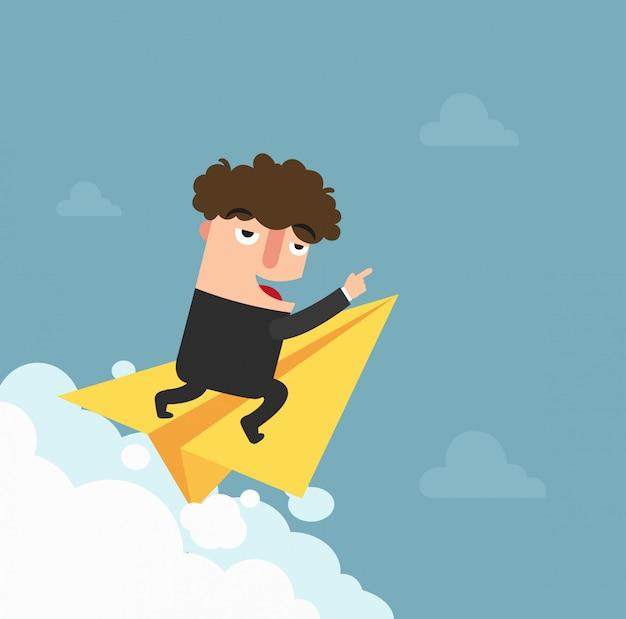 Biznesmen lata na papierowym samolocie i czeka. ilustracja.