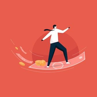 Biznesmen latać z pieniędzmi, zarabiać więcej koncepcji pieniędzy