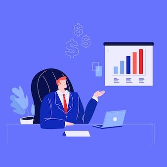 Biznesmen lider prezentacji osiągnięcia firmy