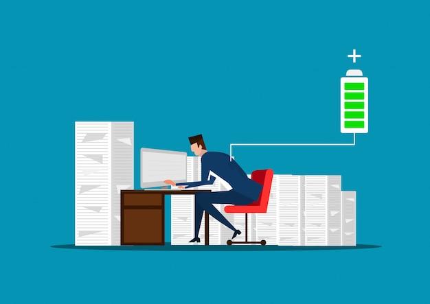 Biznesmen lub kierownik siedzi w pobliżu stosu dokumentów. pełna energia do pracy. naładowany akumulator. ilustracja
