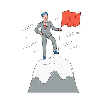 Biznesmen lub menedżer na szczycie wzgórza szkic wektor ilustracja na białym tle.