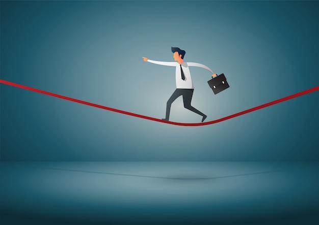 Biznesmen lub mężczyzna w kryzysie chodzi w równowadze na arkanie. biznes . ilustracja.