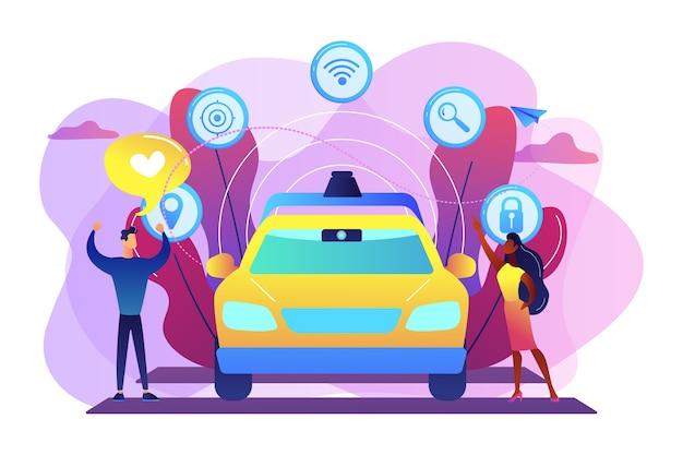 Biznesmen lubi autonomiczne samochody bez kierowcy z ikonami inteligentnych technologii