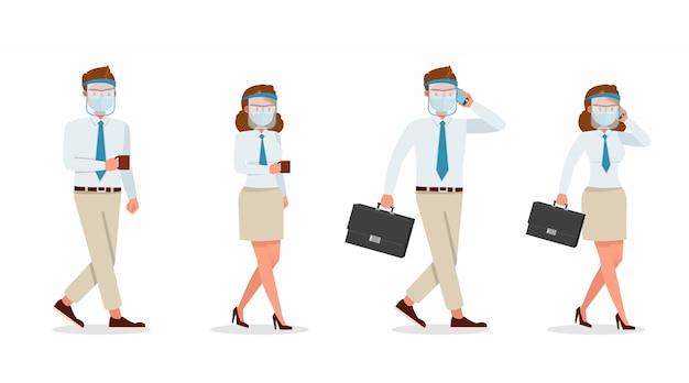 Biznesmen ludzi noszenie maski medyczne i osłona twarzy znaków. prezentacja w różnych akcjach. nowe normalne życie.